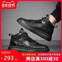秋冬新款高邦鞋男时尚纯色反绒皮系带真皮休闲鞋男潮翻毛皮鞋2018