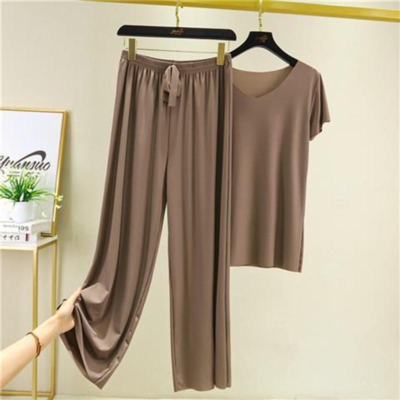 夏季冰丝睡衣两件套短袖套装女2021新款家居服休闲宽松阔腿裤睡裤