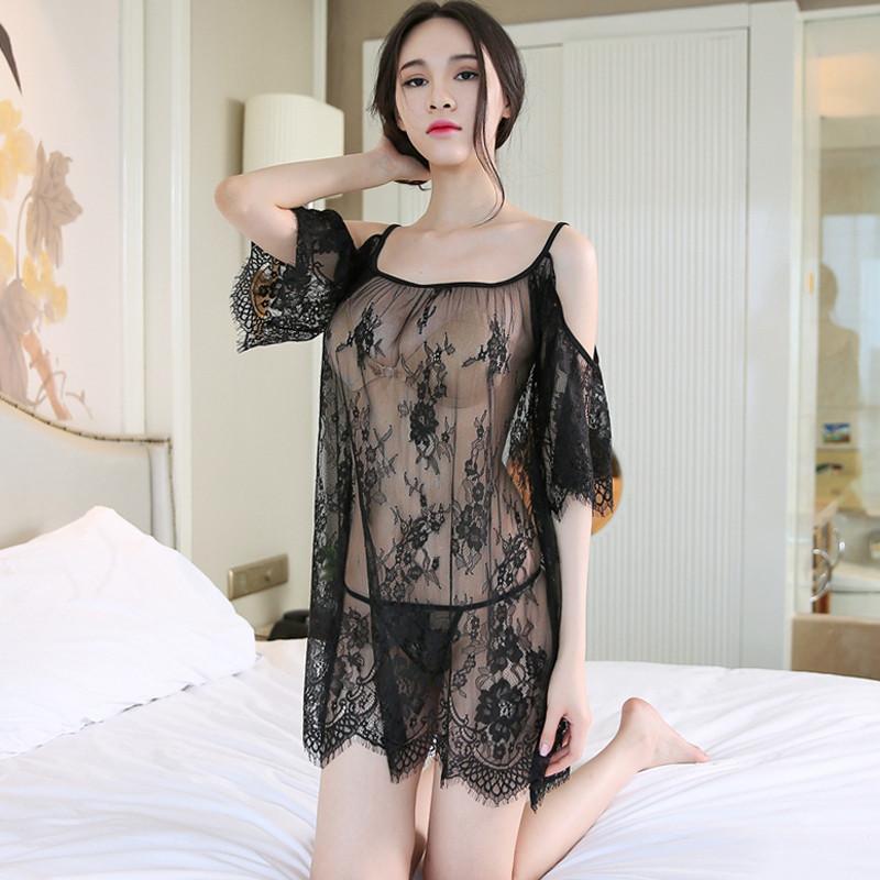 性感薄纱情趣内衣三点式小胸蕾丝睡衣制服诱惑透视套装女睡裙