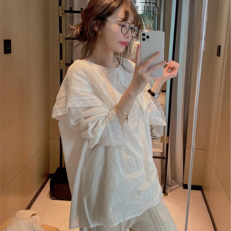现货波拉韩国东大门2020秋新款好乖的白色蕾丝披肩木耳娃娃衫包邮