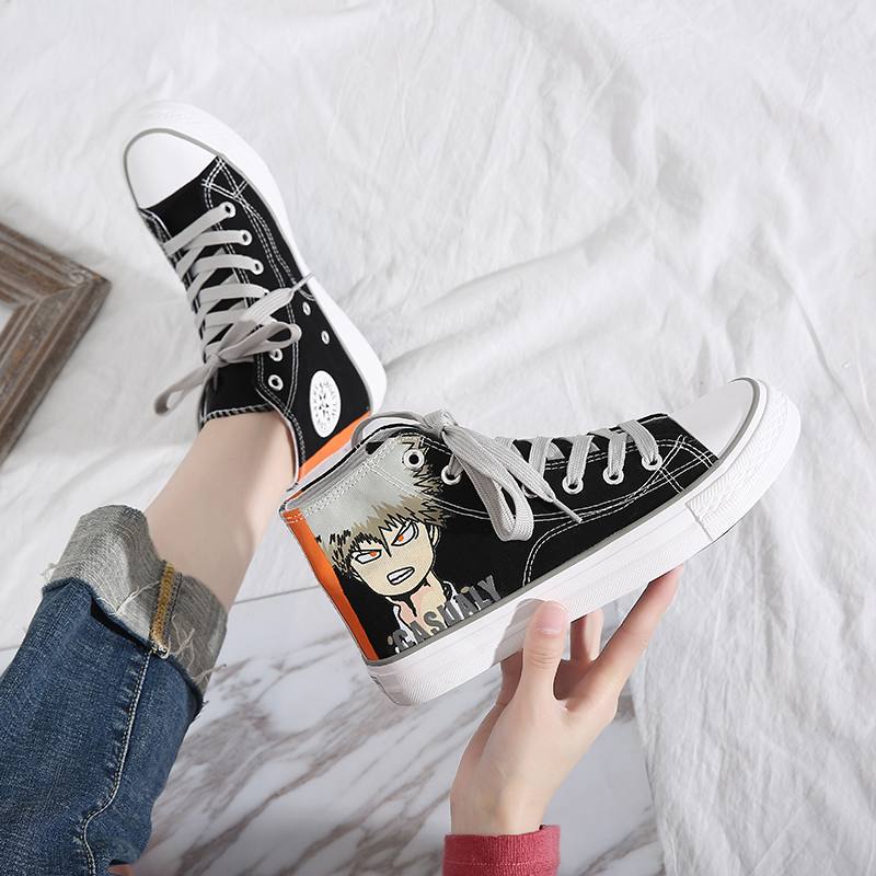 My hero college high top canvas shoes mens spring retro graffiti hand painted shoes versatile couple students mandarin duck shoes