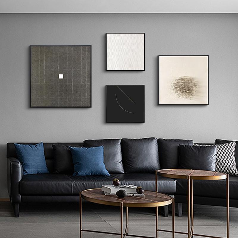 装饰画现代简约客厅挂画黑白极简壁画北欧风格组合画墙画小众艺。