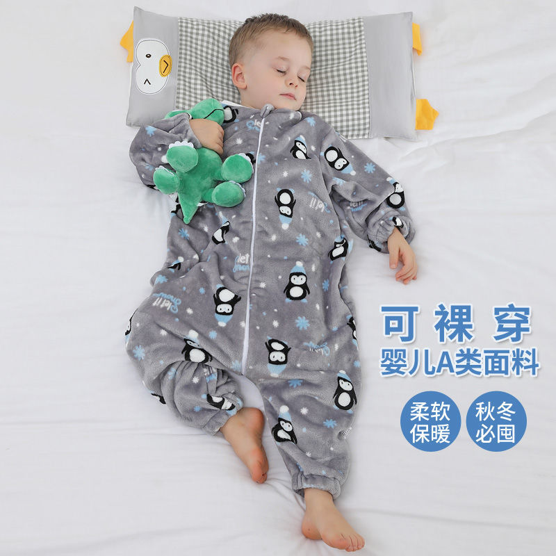 睡袋儿童婴儿睡衣男女宝宝连体衣春秋冬款加厚防踢被神器四季通用