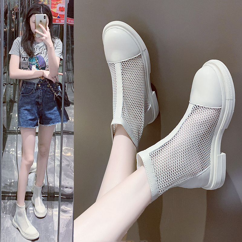 Cool boots womens summer 2020 new mesh boots mesh breathable flat bottomed versatile fashion ins short boots hollow air heel Roman cool boots