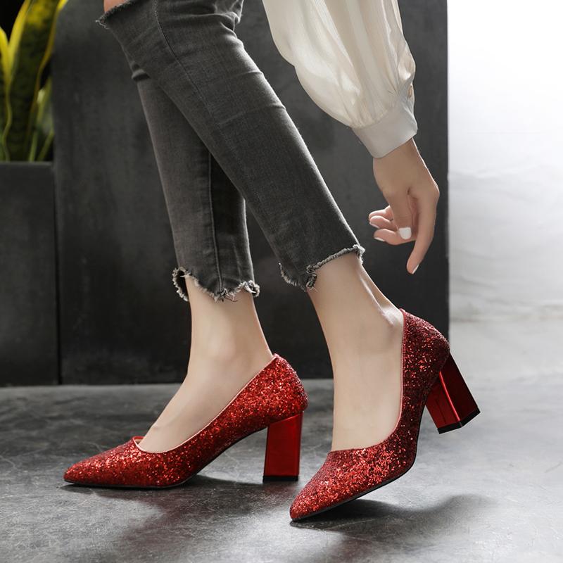 。大码女鞋粗跟41-43小码31 32 33亮片银色婚纱单鞋 女高跟红色婚