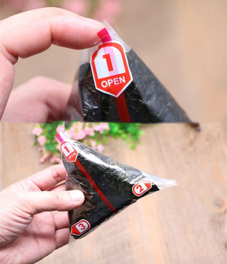 Triangle rice ball seaweed coated bag disposable bag tearing convenient single-layer and double-layer packaging materials
