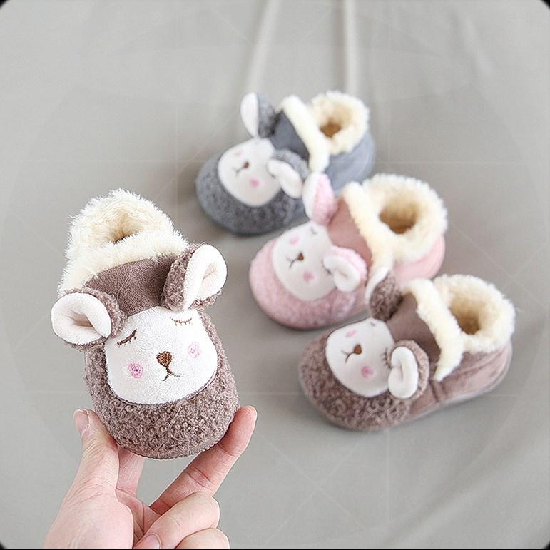 女童毛毛鞋儿童棉鞋冬季加绒保暖女宝宝鞋子外穿加厚小童雪地靴の