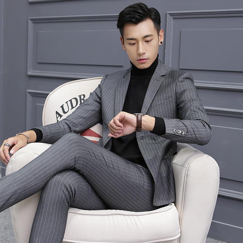 正品新款韩版修身英伦条纹男士小西装套装秋冬外套单西服休闲夜店
