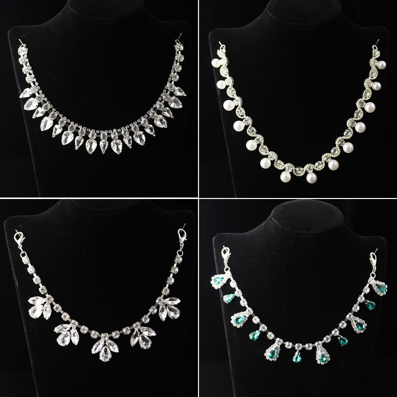 Korean Rhinestone Necklace Crystal detachable collar chain women accessories sweater skirt neckline accessories chain waist chain