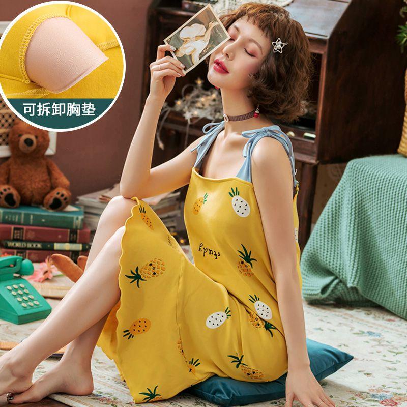 吊带睡裙女士夏季纯棉性感薄款睡衣带胸垫连衣裙子夏天孕妇家居服