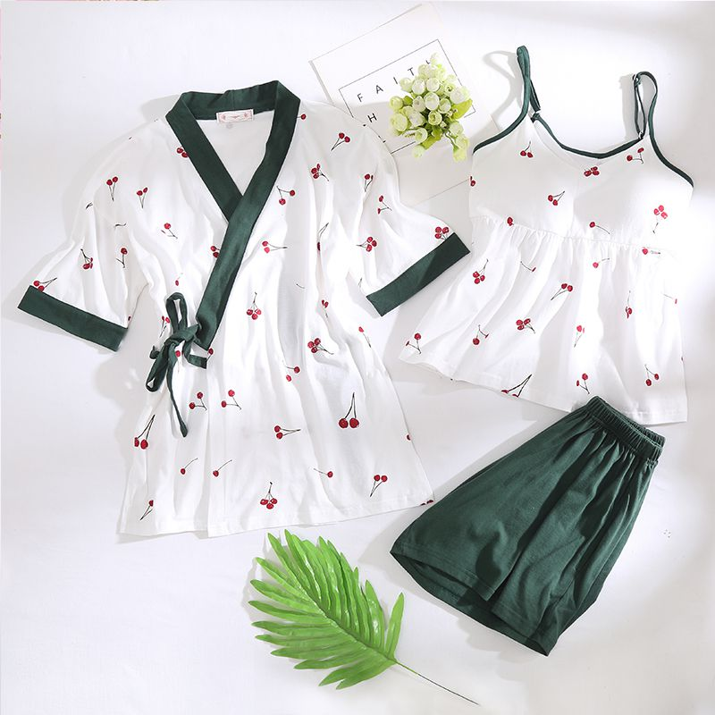 Pajamas womens summer suspender three piece cotton set with chest pad large size fat mm200kg modal suit household clothes thin