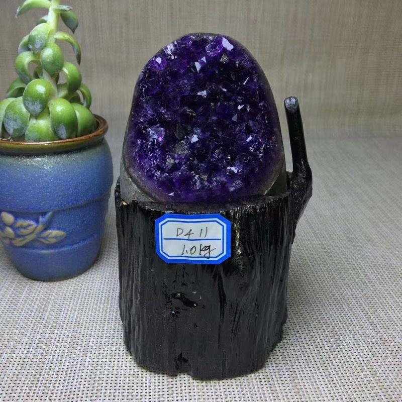 高档天然巴西紫水晶洞聚宝盆乌拉圭钱袋子恐龙蛋紫晶簇原石摆件紫