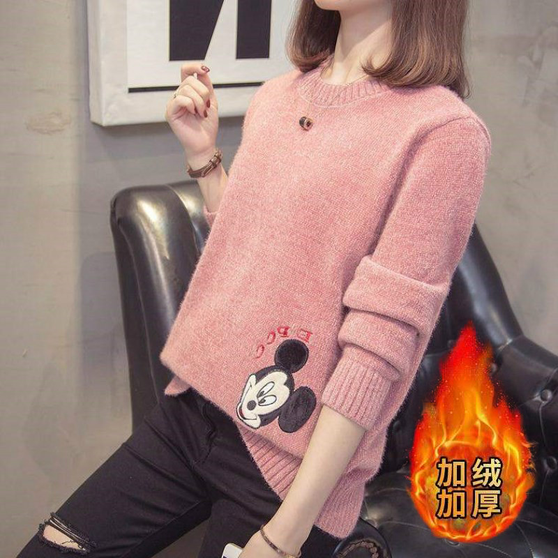 Autumn and winter net red womens clothing 2020 new cartoon loose round neck sweater slim fitting knitted shirt with velvet base coat