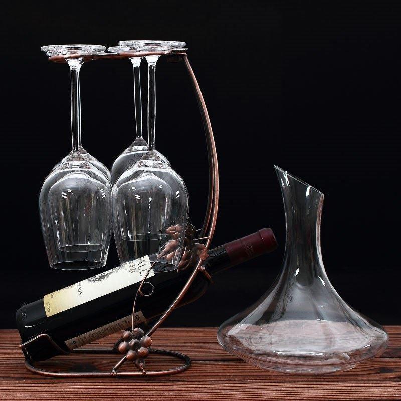 高脚杯葡萄酒杯红酒杯洋酒杯家用无铅水晶分酒器醒酒器配套酒架26