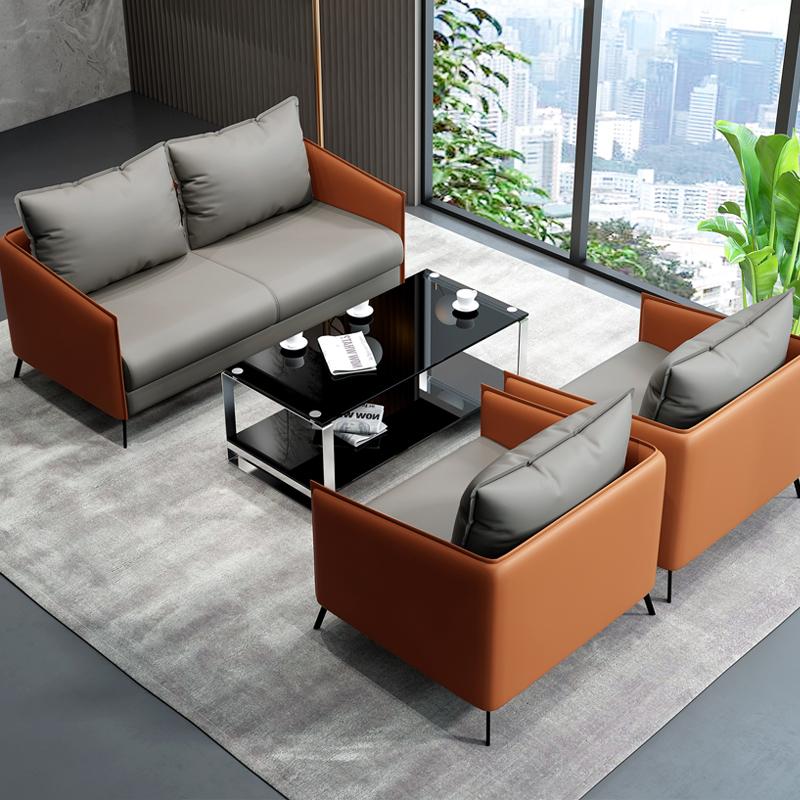 办公家具会客沙发茶几组合现代简约服装店接待洽谈三人位沙发