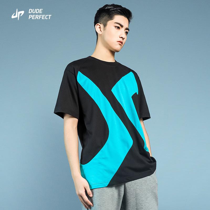 Dude perfect official short sleeve t-shirt mens fashion brand loose black fashion cotton versatile thin summer shirt