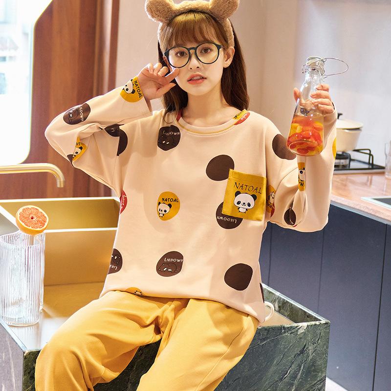 秋季女士套头睡衣套装创意款针织棉质长袖长裤女式家居服