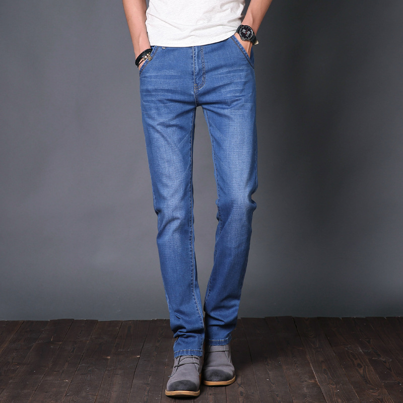 Mens jeans youth slim fit elastic small straight tube casual summer thin pants fashion brand