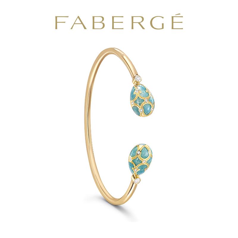 Faberg é Faberge turquoise enamel 18K gold open bracelet with 16 round diamonds