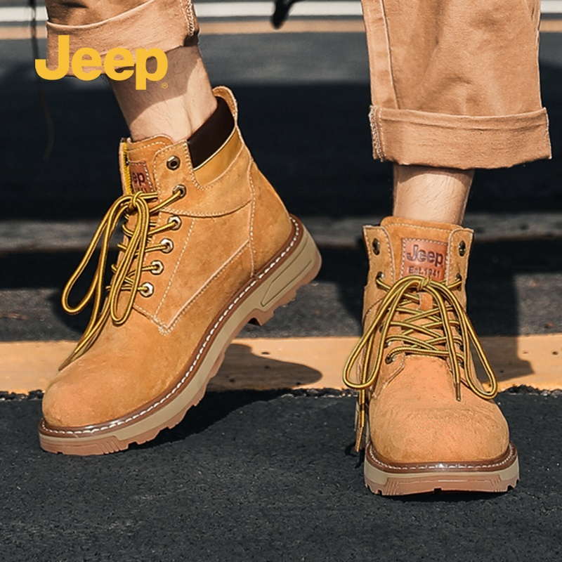 Jeep Jeep Martin boots mens high top British Wind Work Boots Mens autumn and winter desert retro rhubarb boots snow boots