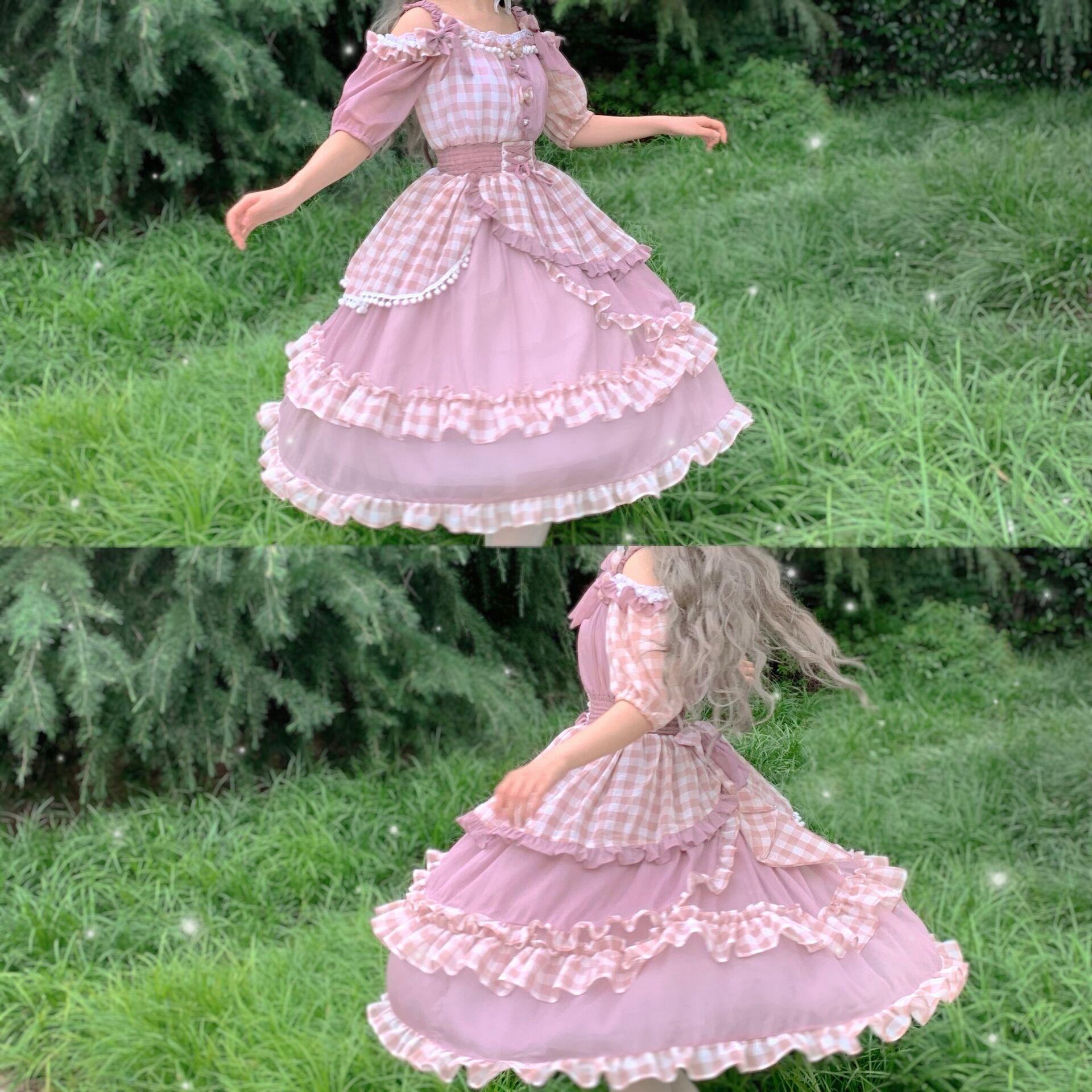 {午後のピクニック}オリジナルLolitaスカート夏のワンピースステッチレースウエストの小さいウエストのop