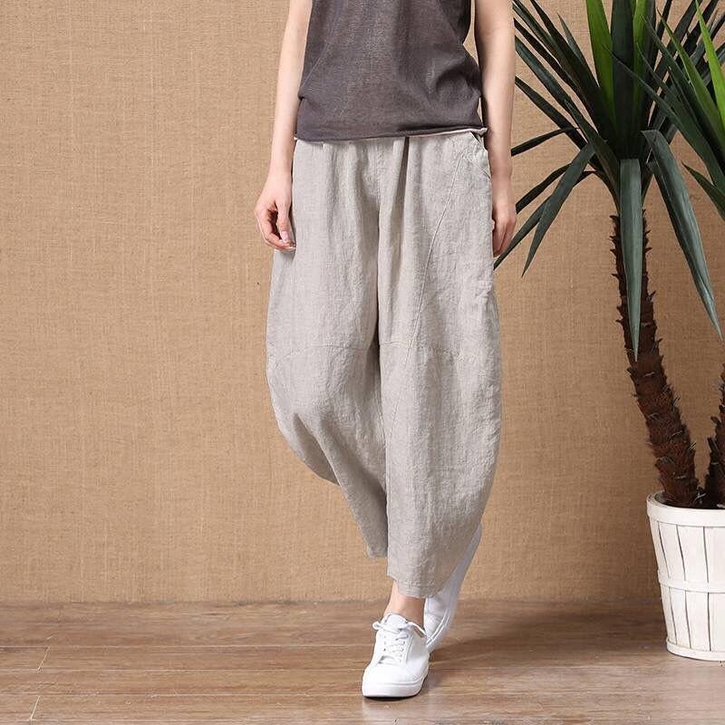 夏季女裤子九分宽松薄款工装风