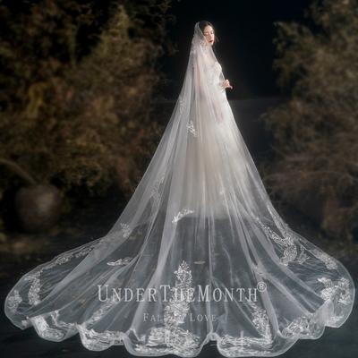 月下相恋新娘主婚纱长款大头纱超仙网红拍照道具结婚头纱复古头纱