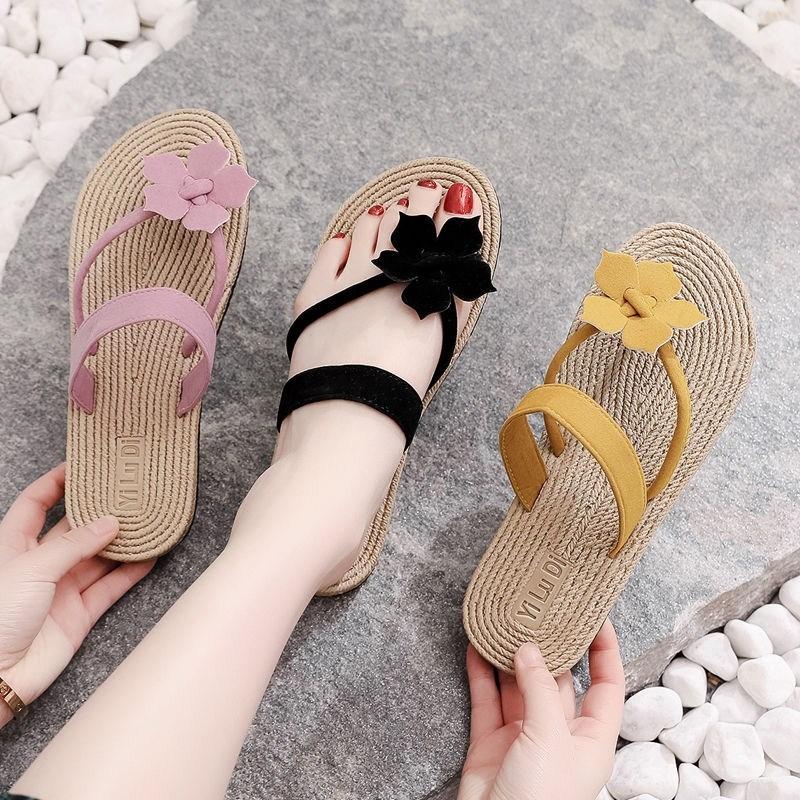 中國代購|中國批發-ibuy99|拖鞋|夏季麻底花朵人字拖女平底可爱夹脚沙滩凉拖鞋外穿时尚海边凉鞋女