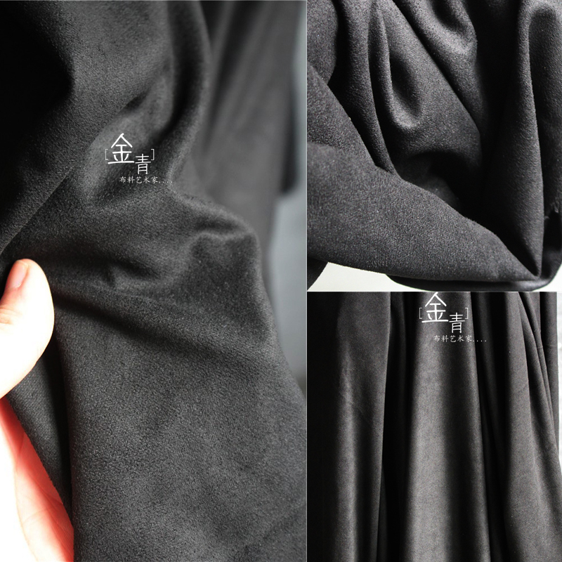 Designer fashion fabric thin black suede frosted fabric skirt coat windbreaker suede