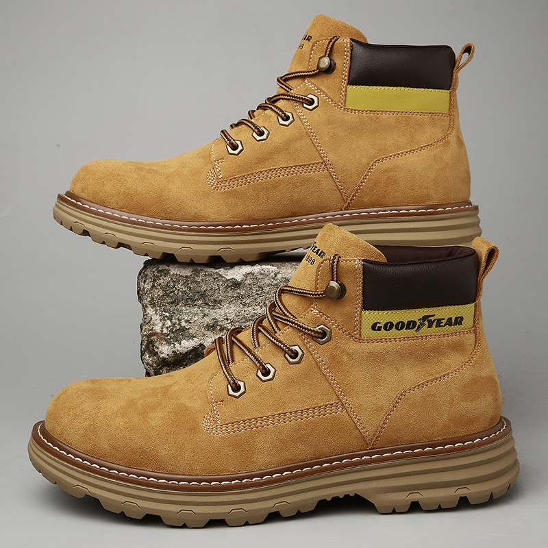Goodyear mens shoes Martin boots high help tooling boots versatile British style rhubarb boots thick soled autumn winter new desert boots