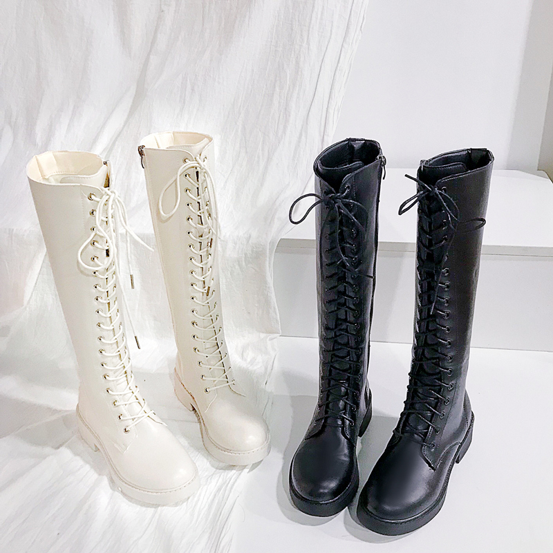 2020 autumn and winter new mid cylinder Knight long tube thin womens shoes spring and autumn single boot high tube Martin knee long boots