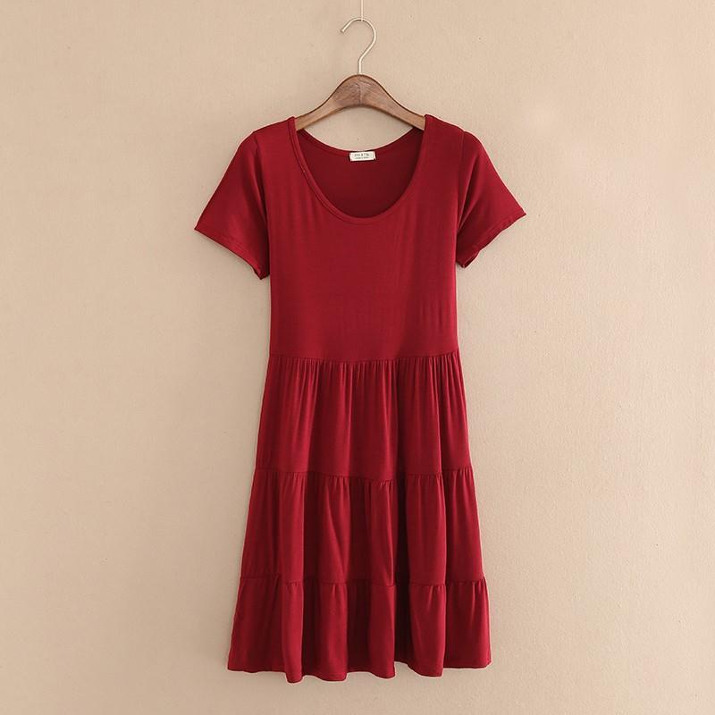 韩版夏季莫代尔短袖连衣裙女宽松大码显瘦蛋糕裙中长款A字大摆裙