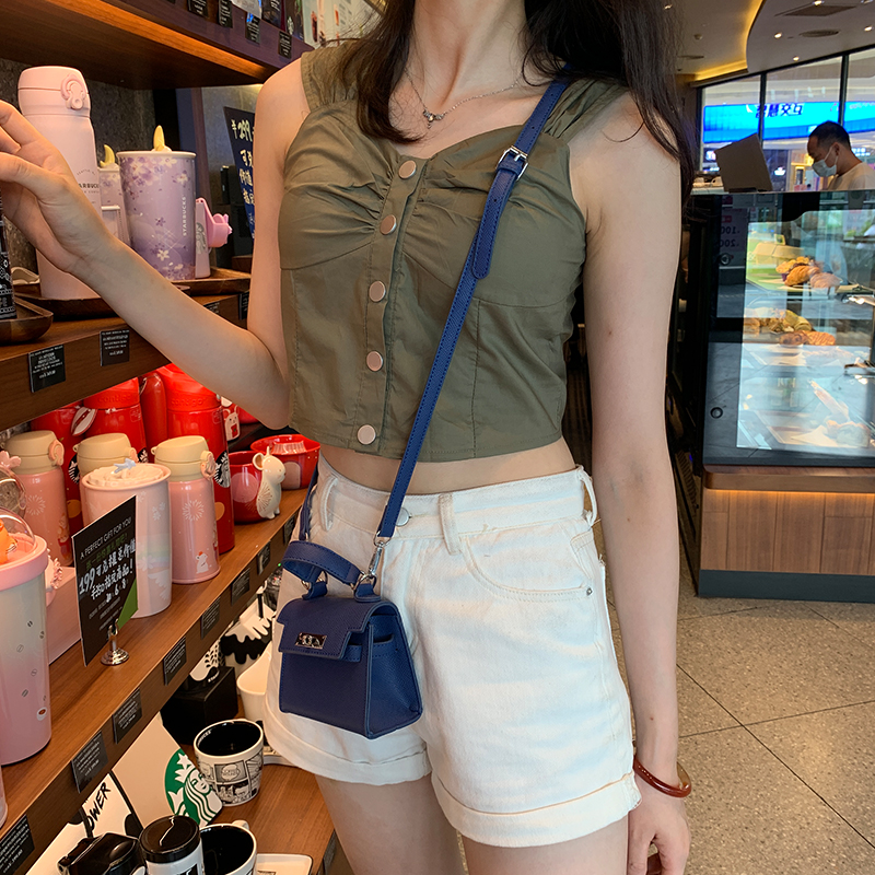Girls solid color suspender tank top womens 2020 summer wear new Korean style versatile thin short style bottomed sleeveless top trend