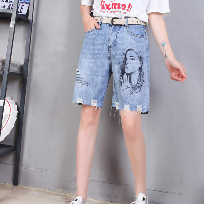 Denim Pant women 2020 summer new style of perforated loose straight pants printed shorts high waist thin student