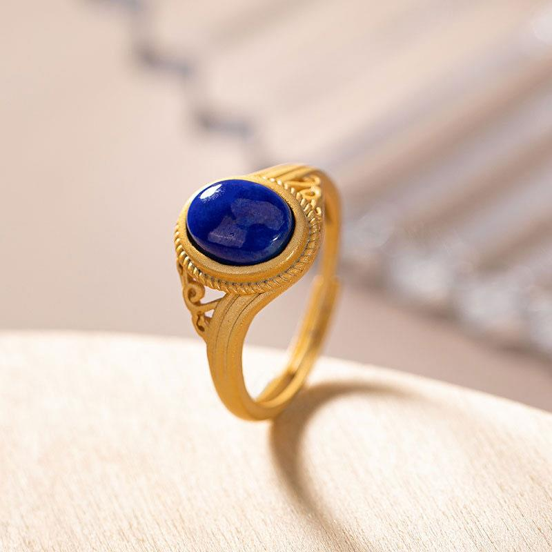 Natural lapis lazuli ring womens fashionable retro pure silver inlaid with gems