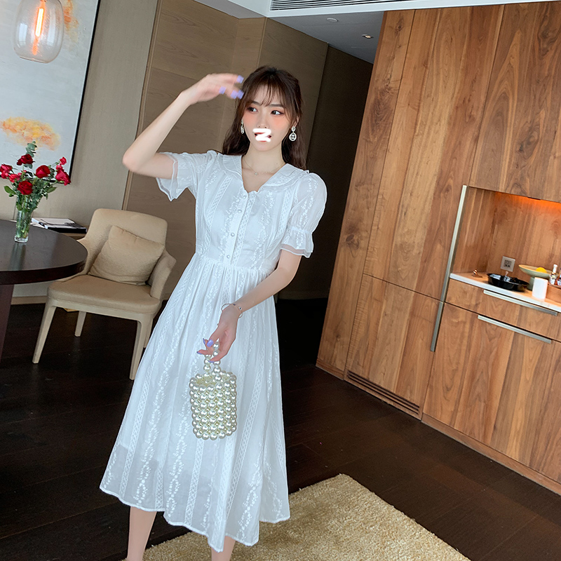 2020 new Korean womens summer noble short sleeve dress white long skirt waist show thin goddess skirt