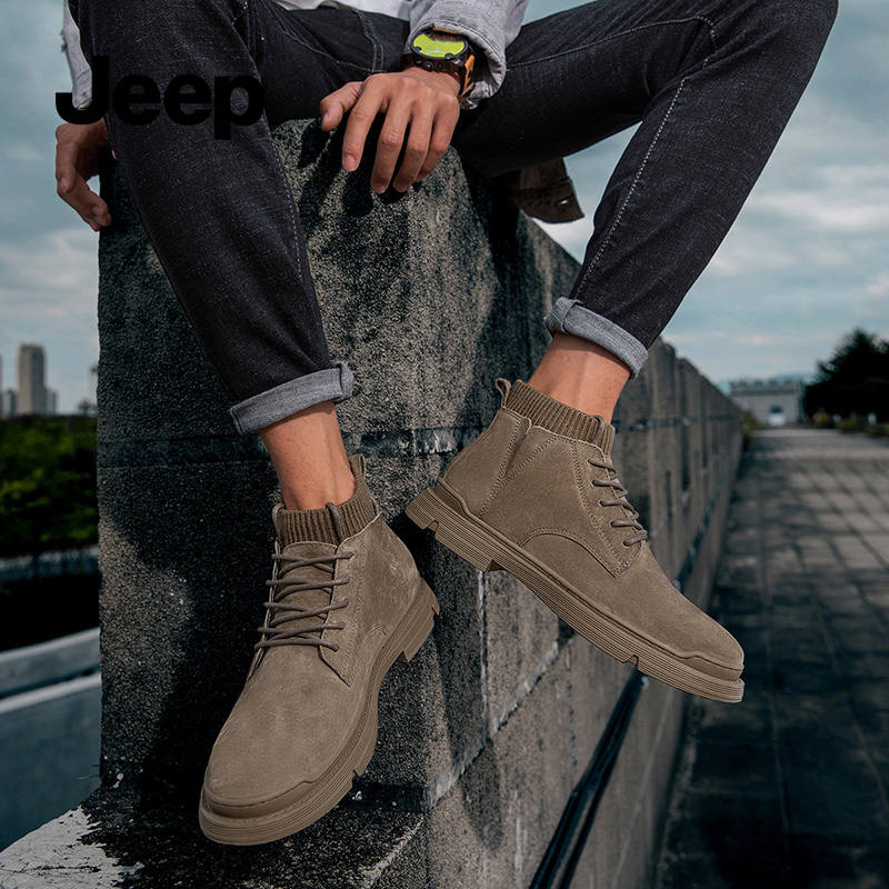 Jeep mens shoes Martin boots mens winter cotton shoes fashion boots British desert boots high top warm tooling boots