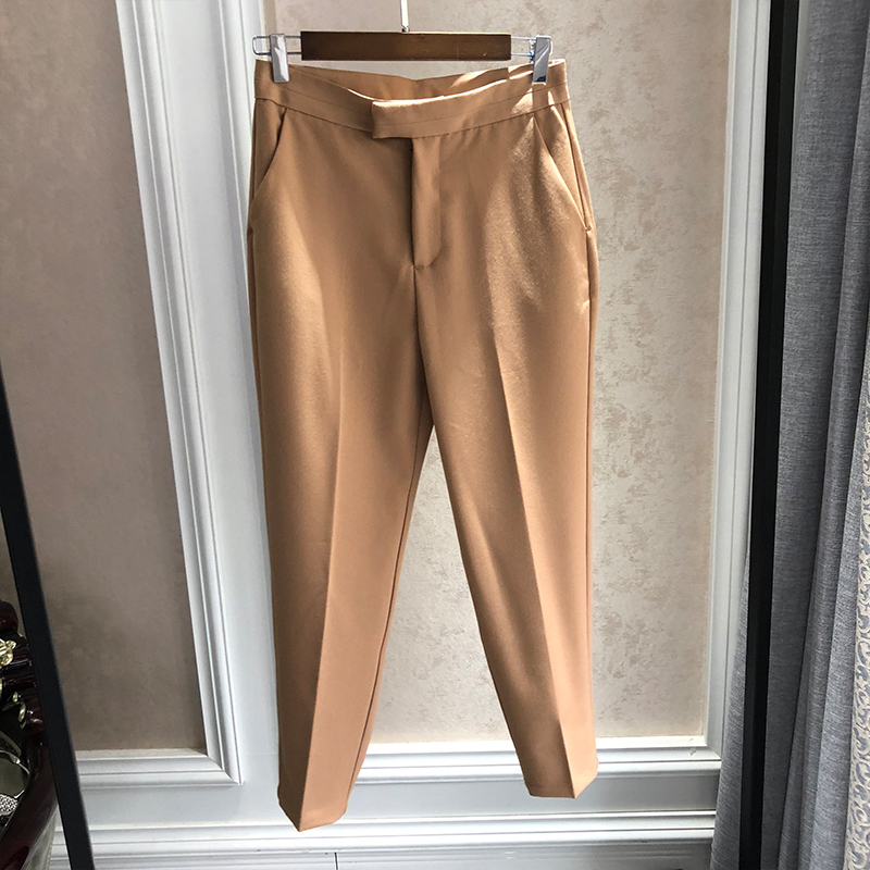 Super thin! A few people! Stylish and versatile basic solid high waist tapered pipe trousers
