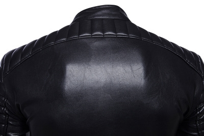 Fashion leisure motorcycle leather riding motorcycle Lapel leather jacket mens oversized fat coat trend