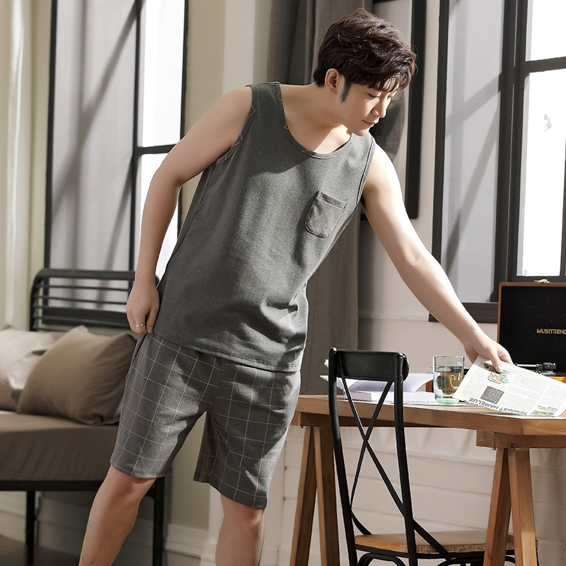 Mens sleeveless pajamas summer pure cotton thin style loose and fat oversized vest shorts mens home suit