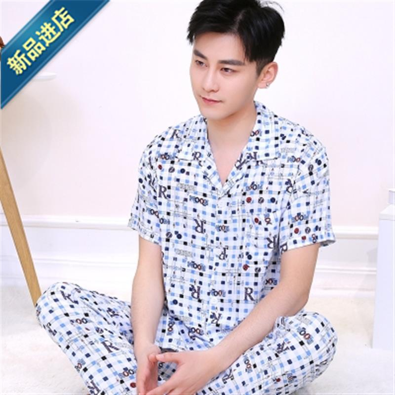 Middle aged mens pajamas Tianbo Style Mens old peoples home clothes suit V Dad