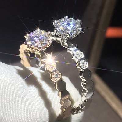 PT950铂金美国进口D色莫桑石蜂巢戒指男女18K玫瑰金结婚钻戒新款