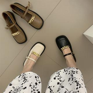 黑色单鞋女鞋子春夏季薄款英伦风复古平底小皮鞋春秋玛丽珍豆豆鞋