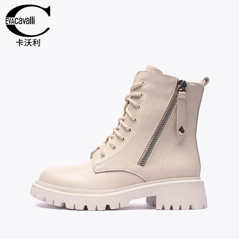 卡沃利2020新款真皮马丁靴女英伦风时尚百搭抖音网红同款短款靴子