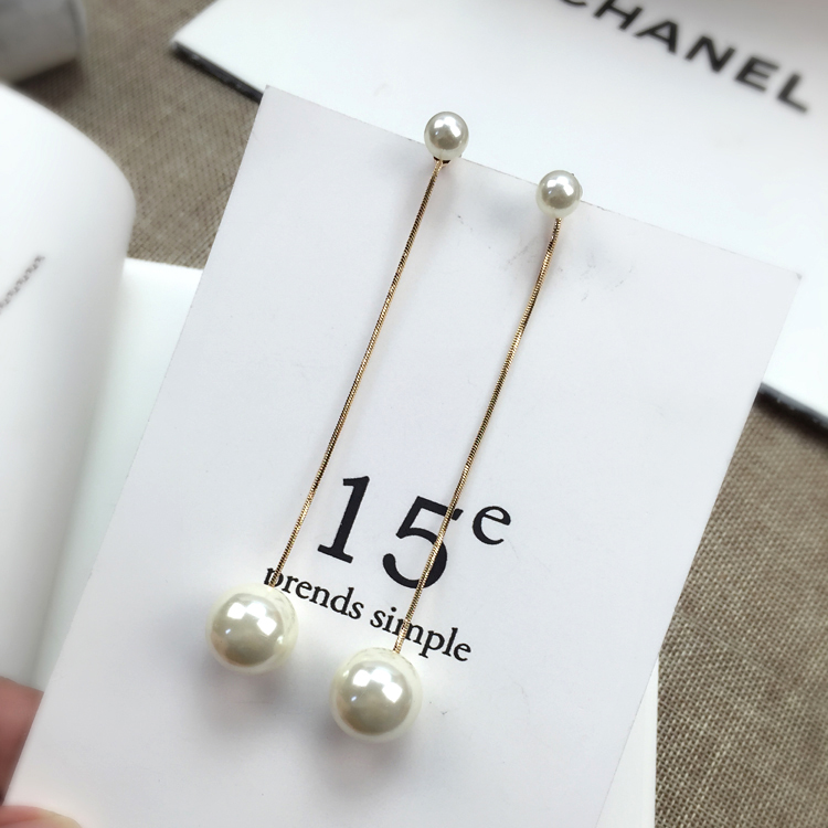 韩国极简风格设计大小珍珠耳环吊坠长款珍珠流苏耳线日韩经典饰品