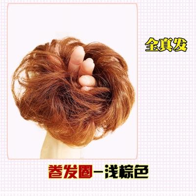 Full human hair wig hairpin curly hair ball head wig bag half ball head flower bud head curly hair bun