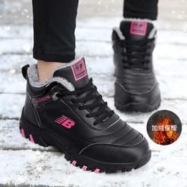 冬季二棉鞋女皮面加绒舒适妈妈鞋中老年绚安踏官网运动健步鞋布鞋