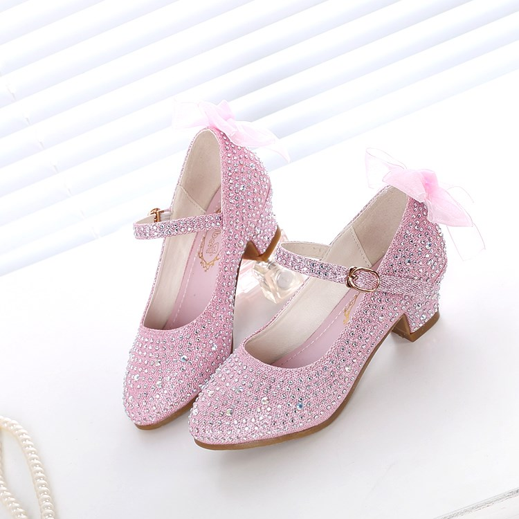 Silver Childrens Rhinestone leather shoes glittering stage performance Princess leather shoes high heels that little girls like to wear