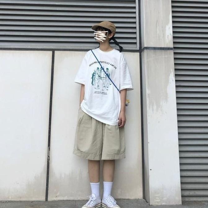 夏装新款日系学生松紧腰阔腿工装短裤原宿BF风街头休闲五分裤男女
