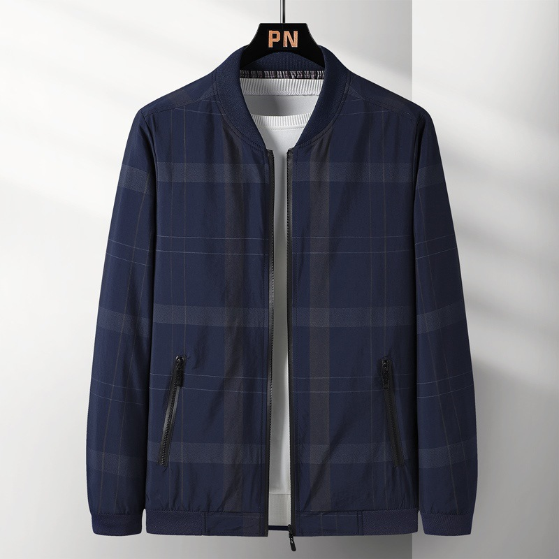 2021 spring and autumn new mens Plaid leisure sports jacket mens high-end quality vertical collar zipper top mens
